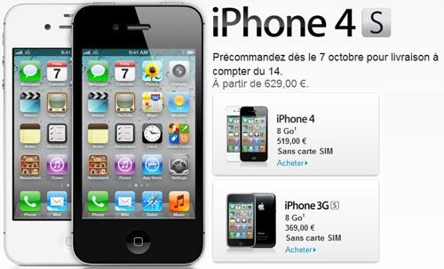 apple iphone 4s 629 plus rapide 8 mpixels le 14 10 en france. Black Bedroom Furniture Sets. Home Design Ideas