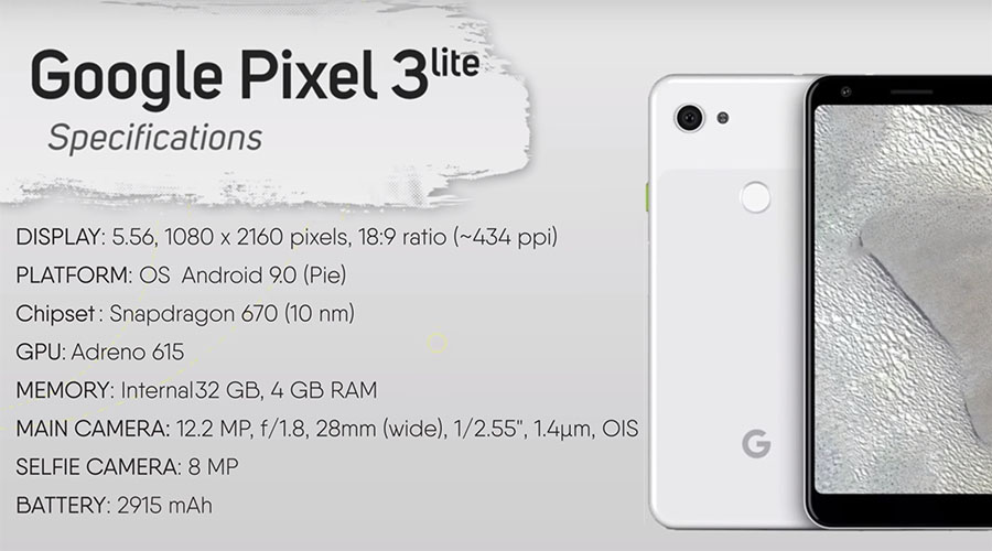 Le Google Pixel 3 Lite se montre dans une vidéo