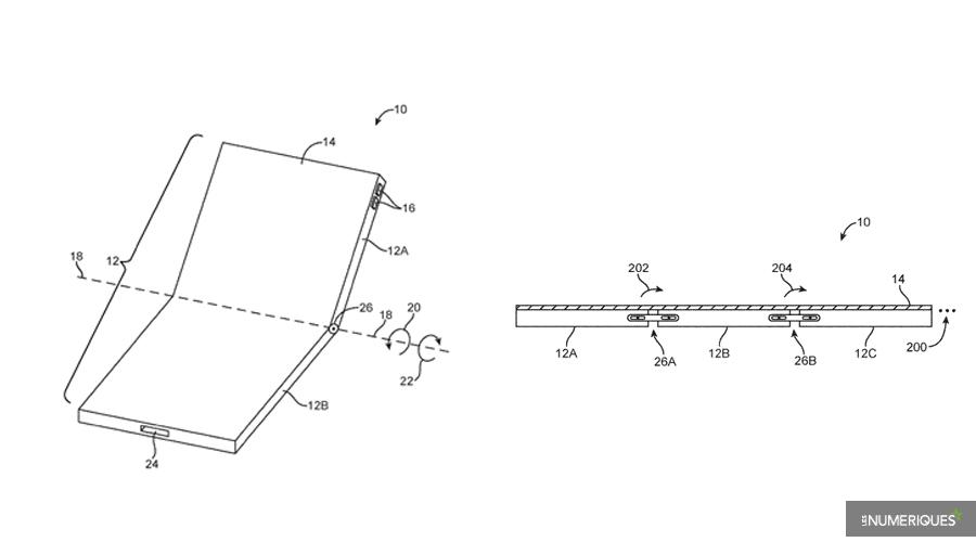 Apple : un brevet et des dessins pour des iPhone pliables