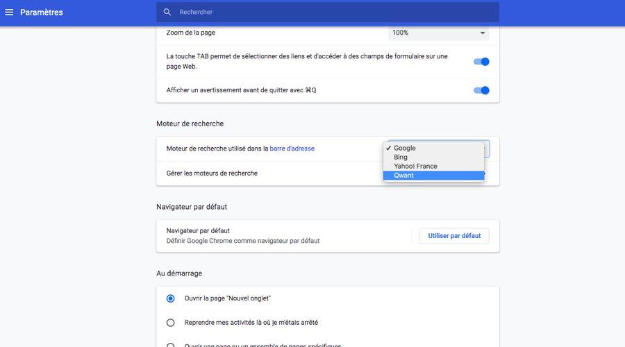 Chrome 73 propose Qwant comme moteur de recherche alternatif