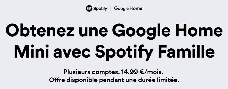 Une Google Home Mini offerte aux abonnés Spotify Premium