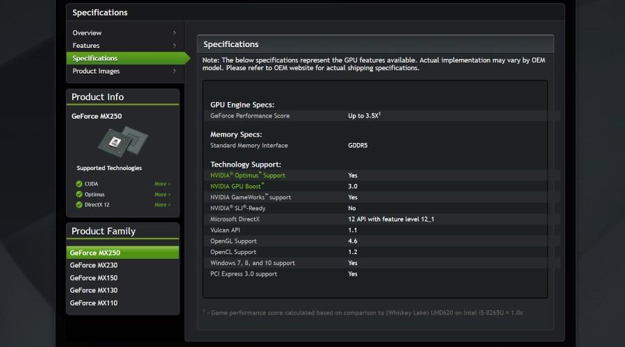 Nvidia GeForce MX250 et MX230 pour laptops : plusieurs variantes
