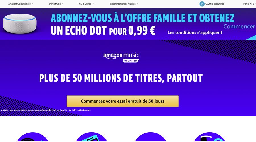 1198c5f3d7f69 L'Echo Dot à 0,99 € pour un abonnement à Amazon Music Unlimited - Les  Numériques
