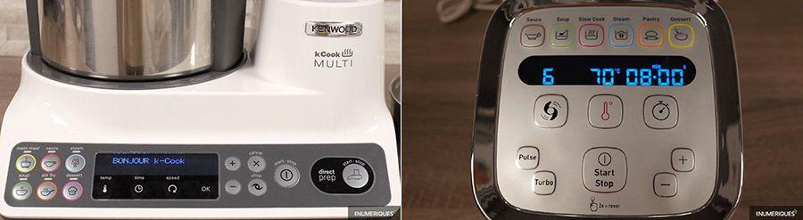 Comparaison robots-cuiseurs Kenwood kCook Multi vs Moulinex Cuisine Companion XL, panneaux de commande