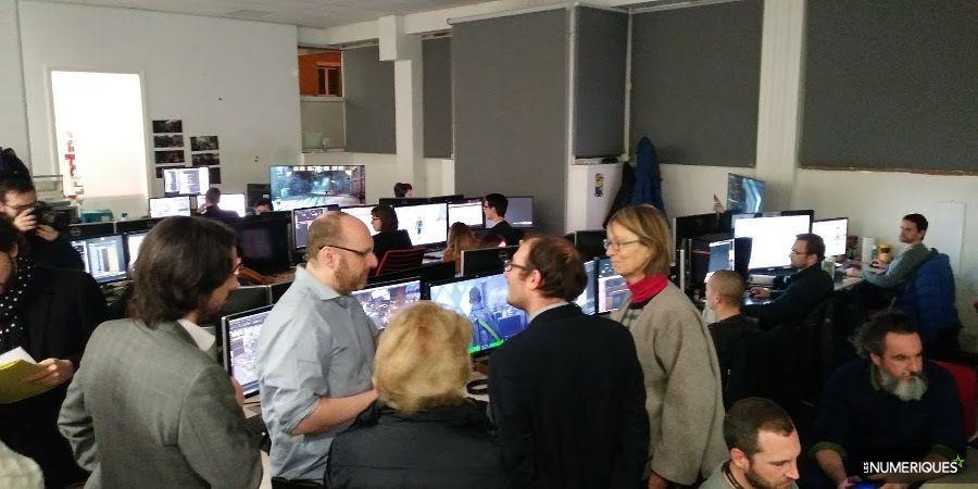 Françoise Nyssen et David Cage dans les locaux de Quantic Dream
