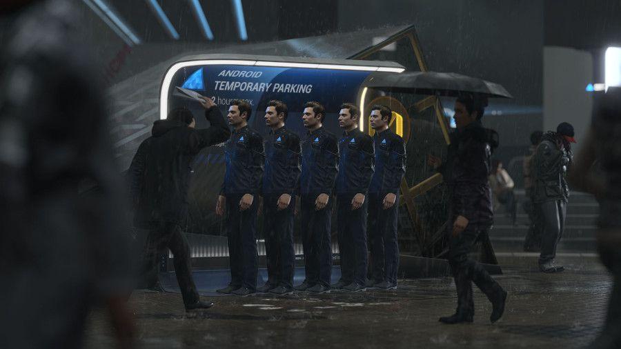 Des androïdes en attente sur un trottoir de Détroit en 2018. Image extraite du jeu Detroit: Become Human (Quantic Dream)