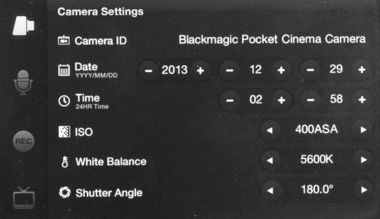 Blackmagic Pocket Cinema Camera, Menu : réglage caméra