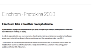 La Photokina, ce sera sans Elinchrom !