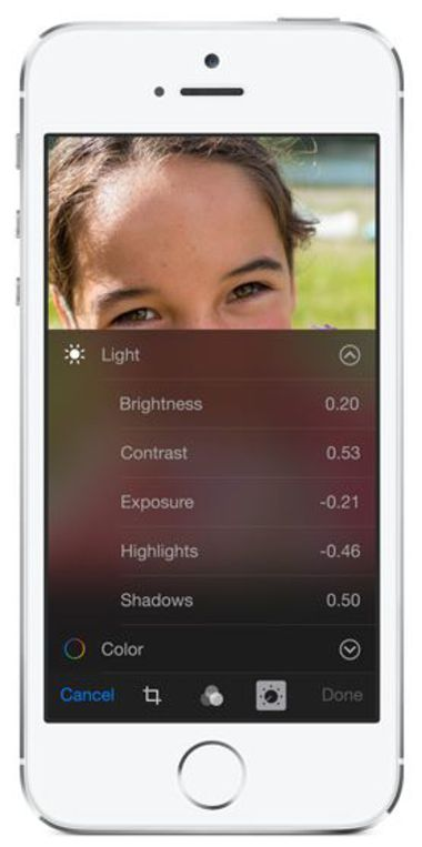 Apple app Photo iOS 8, smart adjustments