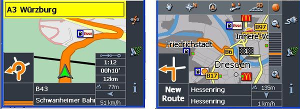 Clarion Map 360 et 560, Interface de navigation