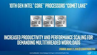 Intel agrandit sa 10e génération de processeurs Core avec Comet Lake, du 14 nm pour les portables