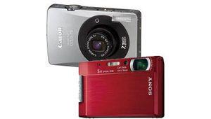 Deux compacts avec écrans géants : Sony T100 et Canon Ixus 75