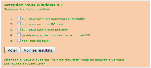 Sondage windows 8