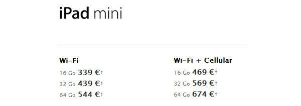 ipad mini prix