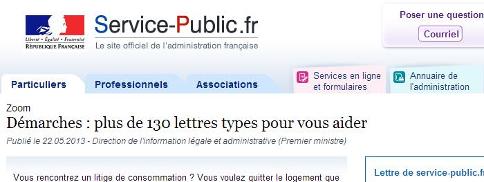 Lettres type service public