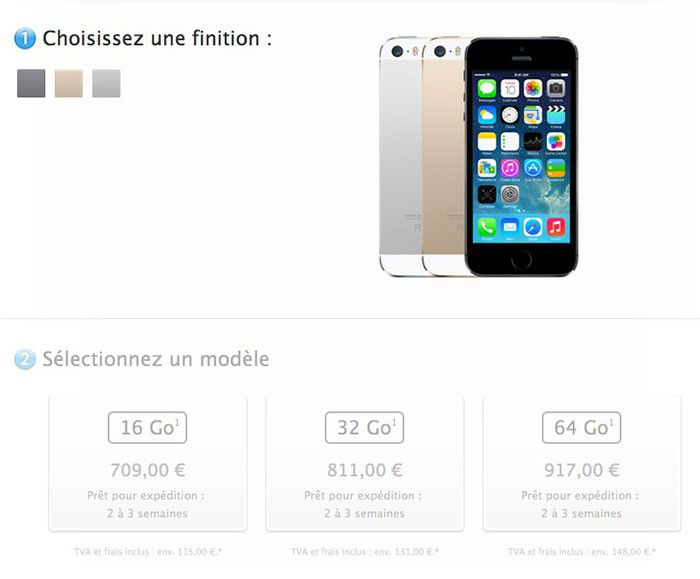 Hausse du prix de l'iPhone 5s et 5c en France