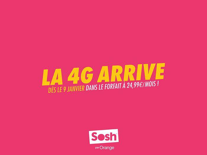 Sosh annonce la 4G pour le 9 janvier prochain