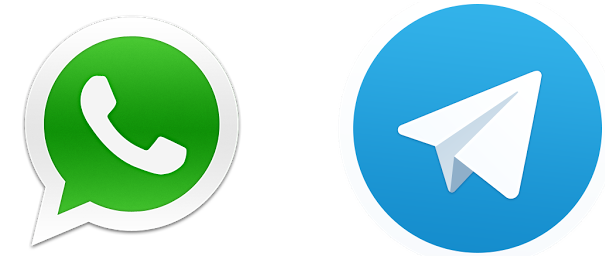 Telegram et whatsapp logos