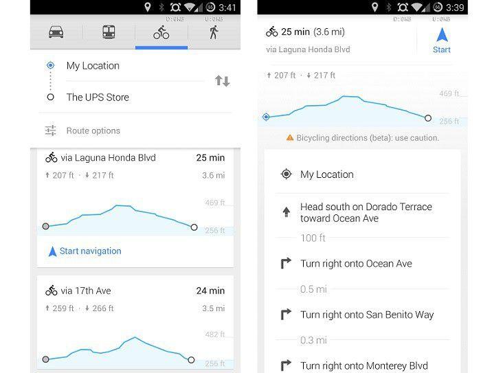 Google Maps cyclistes déclivité