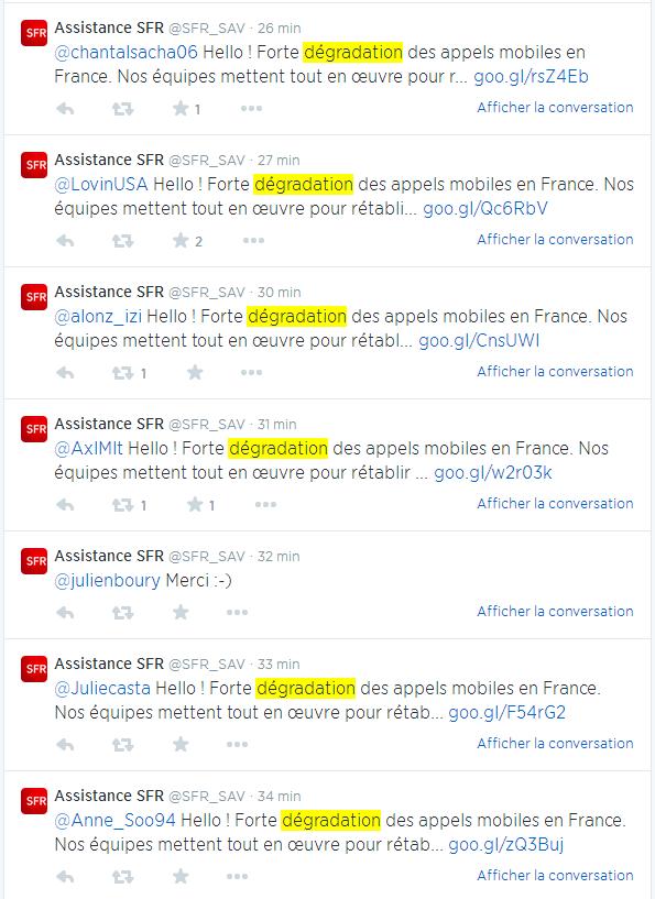 SFR panne dégradation Twitter