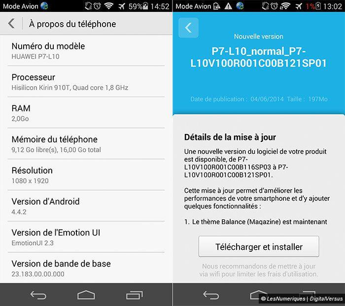 1ère mise à jour du Huawei Ascend P7en France