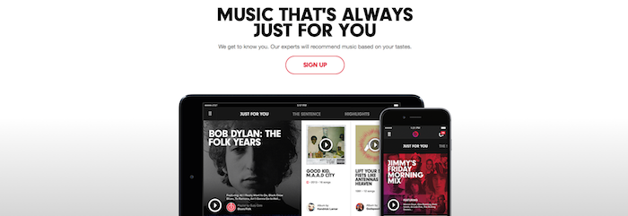 Beats Music, visuel du site, capture d'écran