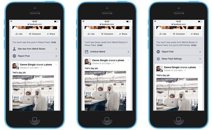 Facebook Feed control 3 screens