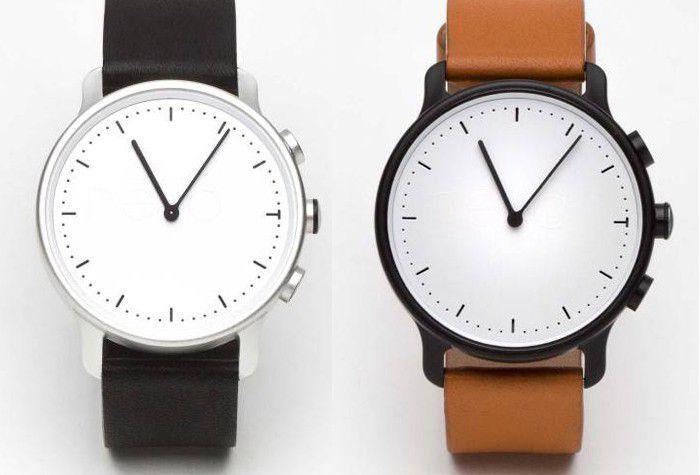 NevoWatch Nevo montre connectée, boîtier argent ou noir, bracelet fauve ou noir