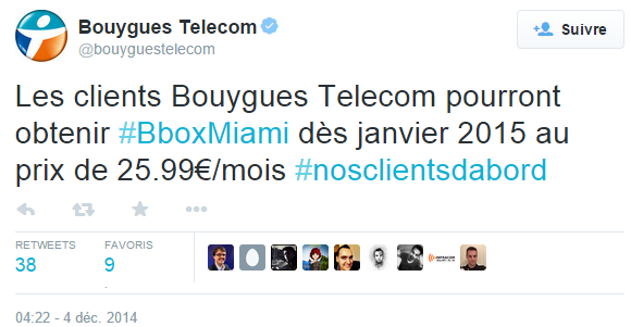 Bouygues tweet Bbox miami