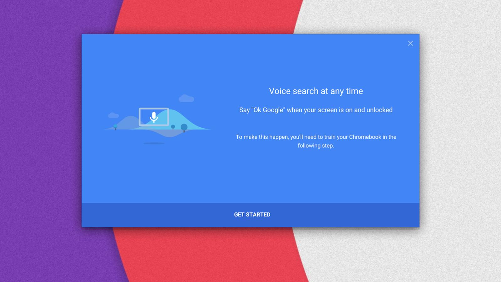 Chromebook, OK Google, capture de l'écran de démarrage