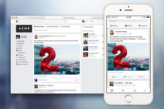 Visuels plateforme Facebook at Work