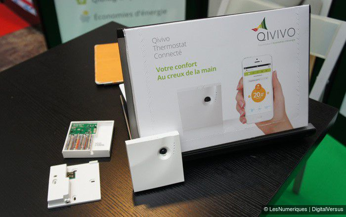 Qivivo, thermostat connecté, présentoir et stand