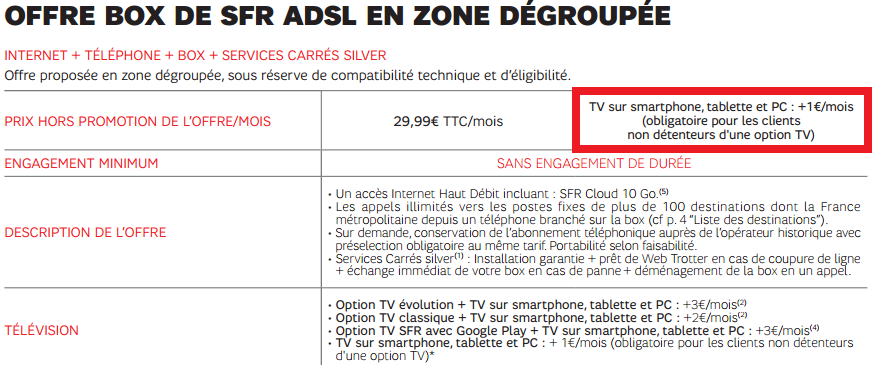SFR Option TV obligatoire
