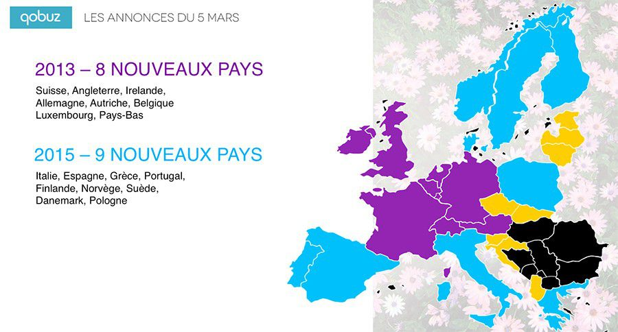 Qobuz, carte 2015 de l'implantation de la plateforme en Europe