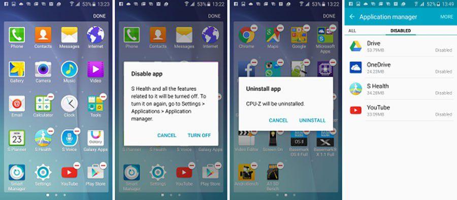 Suppression applis préchargées Google et Samsung dans TouchWiz Galaxy S6 et S6 edge