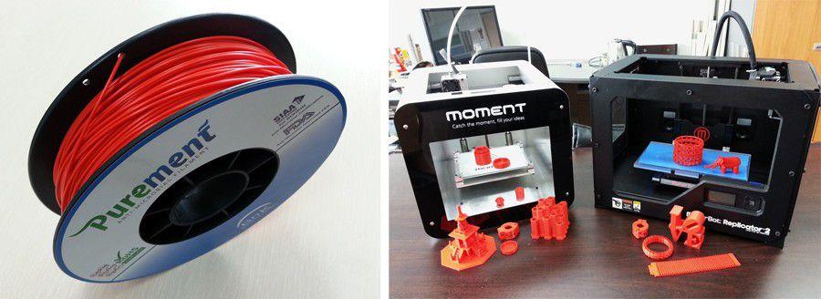 Purement, filament antimicrobien BnK, bobine et résultats imprimés sur une imprimante 3D Moment