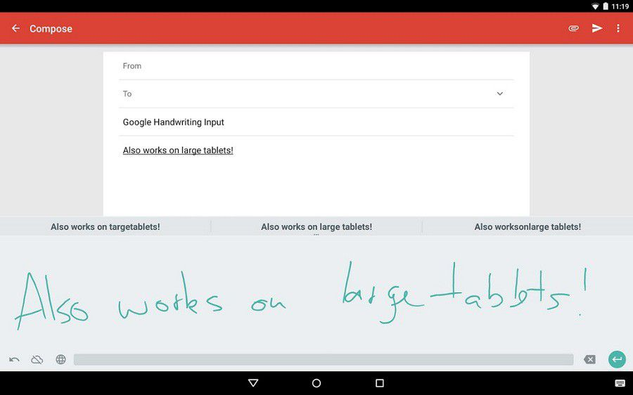 Google Handwriting tabs