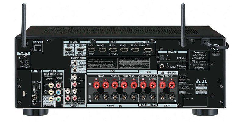 Ampli Pioneer VSX-1130 de dos, connectique