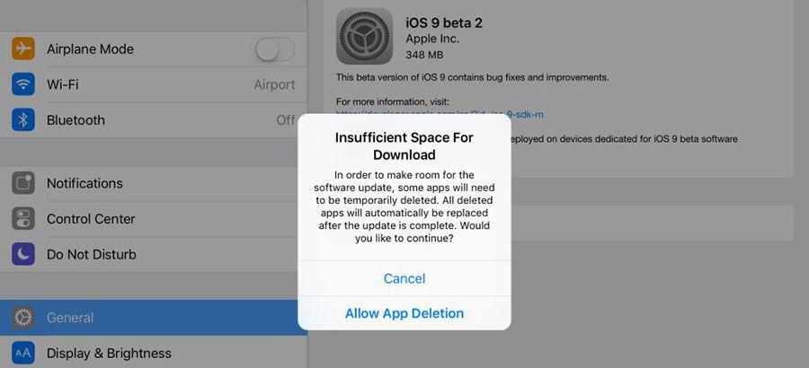 iOS9, applications effacées, mise à jour et restauration