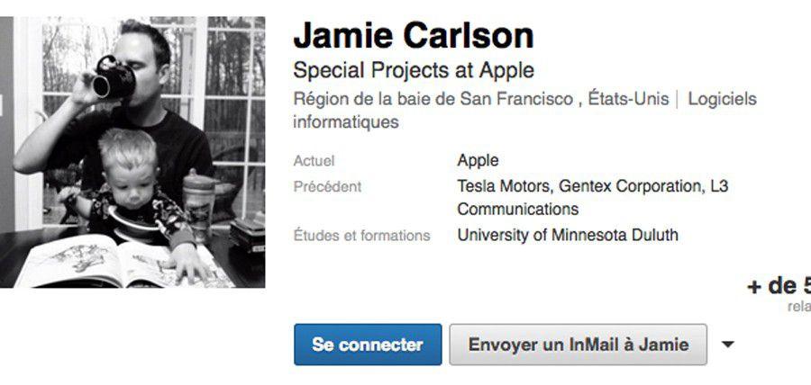 Jamie Carlson, profil LinkedIn, capture d'écran