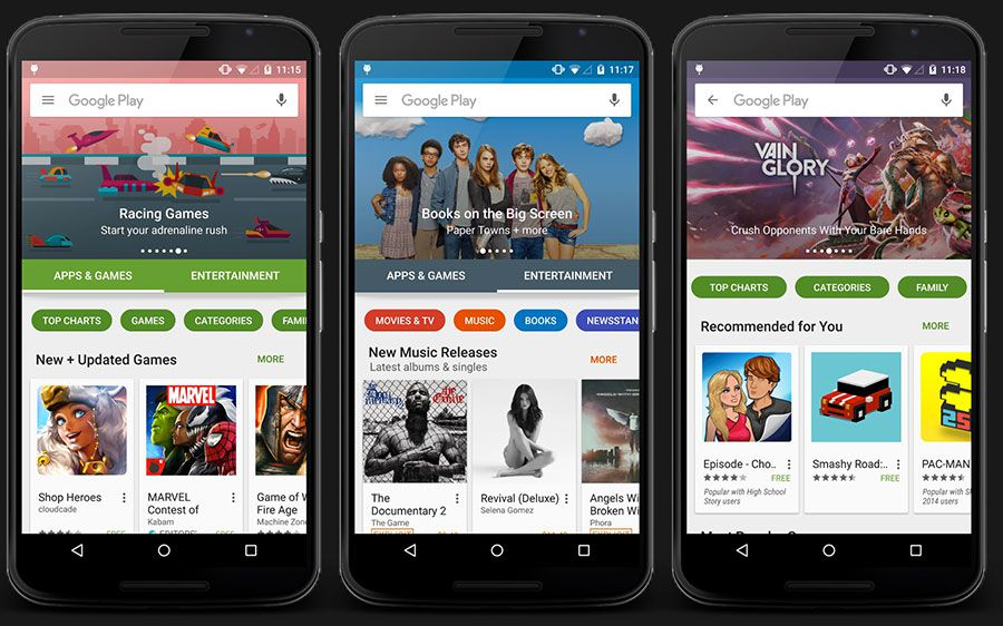 Google play 6 0 nouveau design ergonomie 1