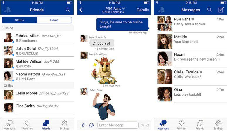 PlayStation Messages screens