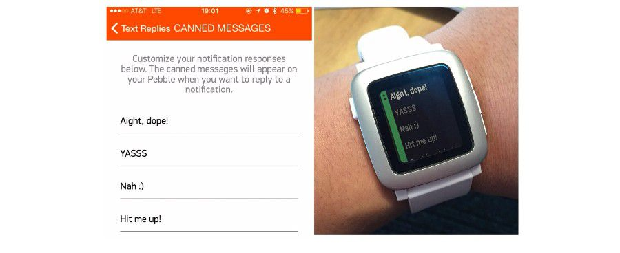 pebble time sms