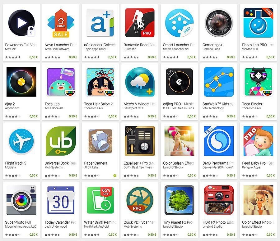 Google play les jours play de goole applications promotions