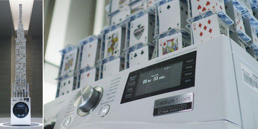 Lg Centum Wm Guinness World Record, château de cartes sur lave-linge en essorage, résultat final homologué, vue d'ensemble et détail