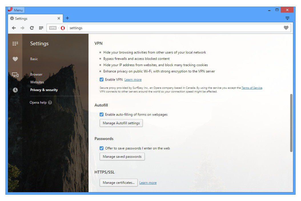 Opera settings Privacy VPN