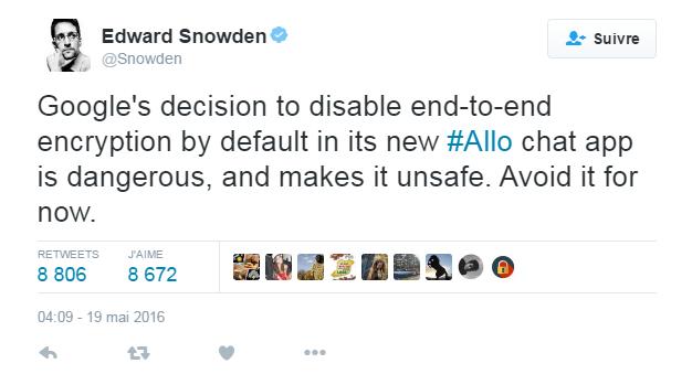 Tweet Snowden Google Allo