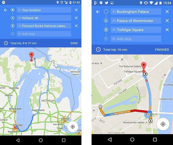 Screenshots Android Police Maps destinations