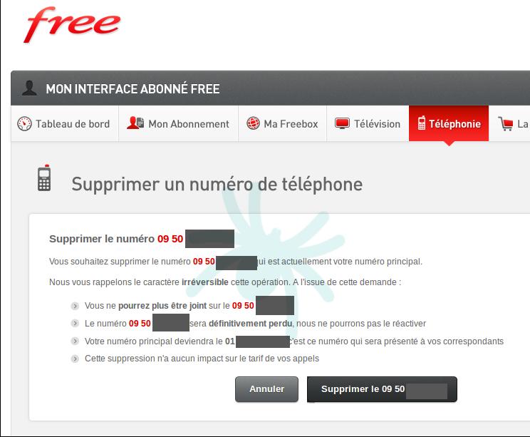Freebox supprimer numero 09