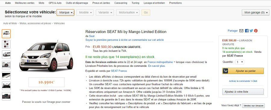 Amazon Seat Mii page produit